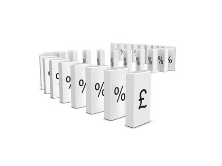 regression: Pound Sterling currency crash. Domino effect. Isolated on the white background.