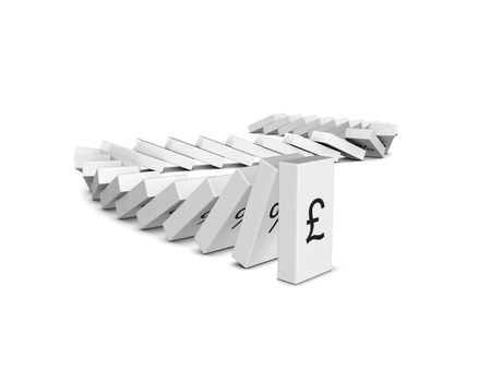 insolvency: Pound Sterling currency crash. Domino effect. Isolated on the white background.