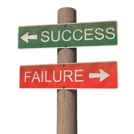成功と失敗の道標。白い背景上に分離。