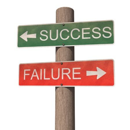 failed strategy: Success and failure signpost. Isolated on the white background.