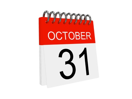 Calendar isolated on the white background. Halloween. Stock Photo