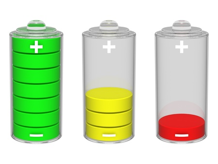 Colorful battery icon. Isolated on the white background. Foto de archivo