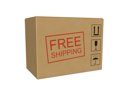 Free shipping cardboard box isolated on the white background. Standard-Bild