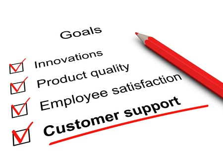 customer care: Customer support checklist. Key goals in business. Stock Photo