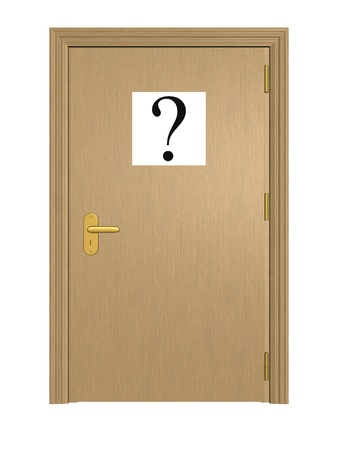 obscurity: Secret door. Isolated on the white background. Stock Photo