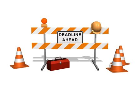 hard work ahead: Deadline Ahead sign on the construction fence. Isolated on the white background. Stock Photo
