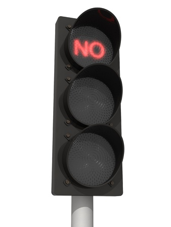 교통 빨간 신호 없음으로 켜집니다. 흰색 배경에 고립. 스톡 콘텐츠