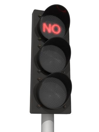 Verkeerslichten met rode Geen signaal. Geà ¯ soleerd op de witte achtergrond. Stockfoto - 10841677