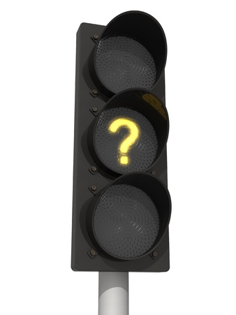 Traffic lights with yellow question mark signal. Isolated on the white background. photo