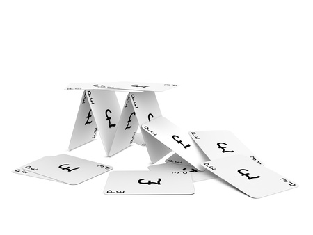 stabilization: Pound Sterling card tower crash. Isolated on the white background.