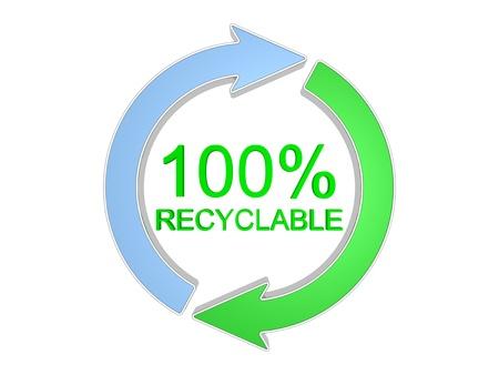 reciclable: 100 por ciento reciclables signo. Aislado en el fondo blanco.