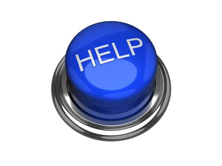 solve problems: Help button. Isolated on the white background. Stock Photo