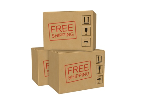 payload: Free shipping cardboard boxes Stock Photo