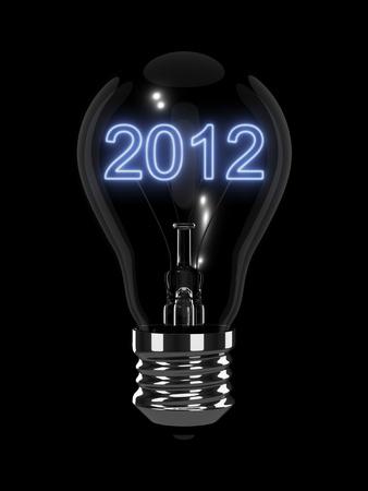 New Year 2012 gloeilamp Stockfoto - 11081211