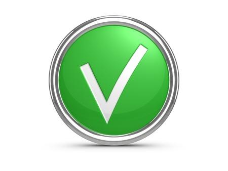 assume: Green check mark sign. 3d illustration.