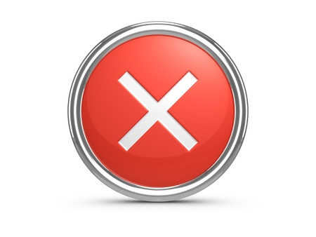 cancel icon: Red Cancel sign. 3d illustration.