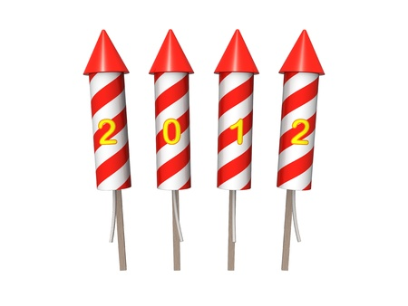 Bunch of New Year fireworks rockets. photo