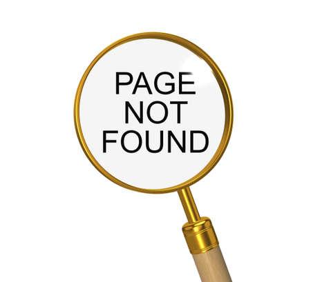 find fault: Page not found. 3d illustration.