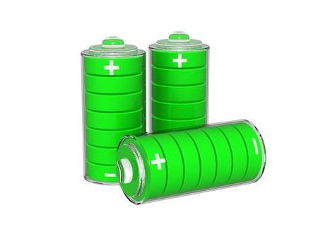 Set of green batteries photo