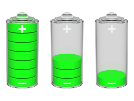 consuming: Set of green batteries
