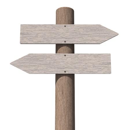 Blank houten wegwijzer
