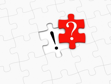 Red puzzle piece with question mark.
