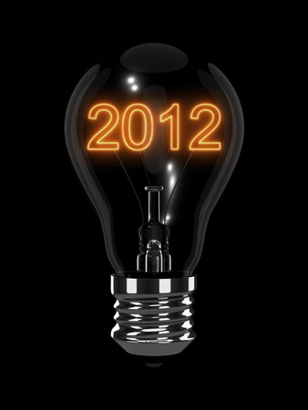 New Year 2012 light bulb. Isolated on the black background Stock Photo - 11740170