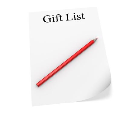 Gift list for the New Year. 3d illustration Stock Illustration - 11740159