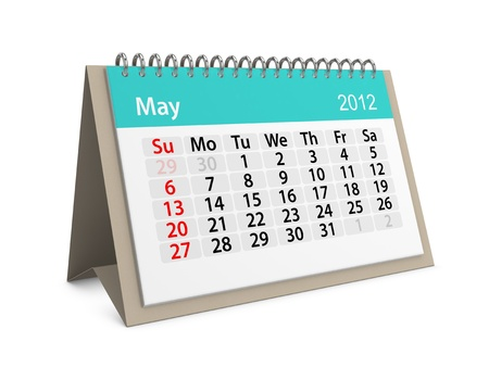 Maandkalender voor Nieuwjaar 2012. Mei.