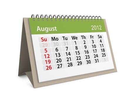 Maandkalender voor Nieuwjaar 2012. Augustus.