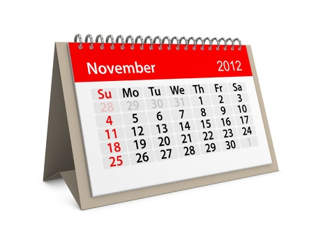 project deadline: Monthly calendar for New Year 2012. November. Stock Photo