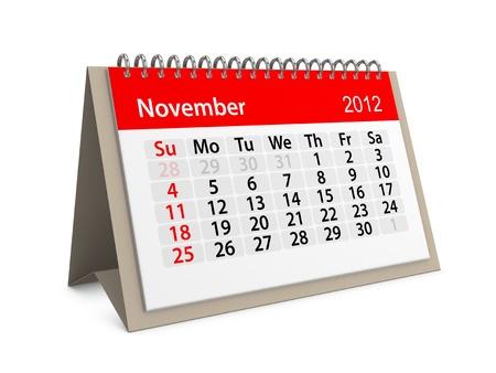 november 3d: Monthly calendar for New Year 2012. November. Stock Photo