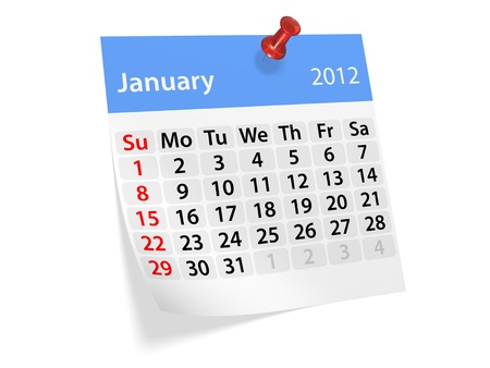 Monthly calendar for New Year 2012. January. photo