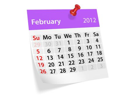 Monthly calendar for New Year 2012. February. photo