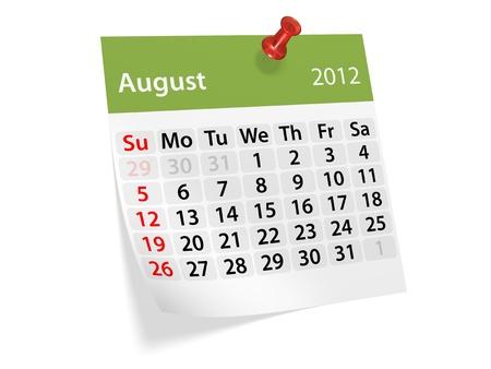 2012 年新年のカレンダー。8 月。