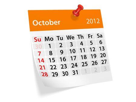 2012 年新年のカレンダー。10 月。