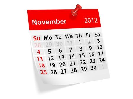 Monthly calendar for New Year 2012. November. 免版税图像