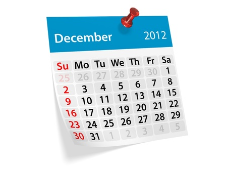 Monthly calendar for New Year 2012. December.