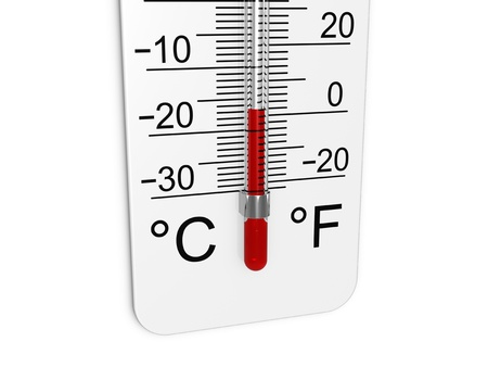 coldly: Thermometer indicates low temperature.