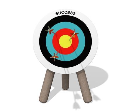 Succes doelplaat met pijlen
