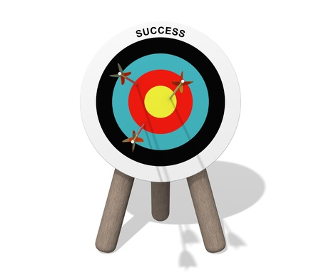 Success target board with arrows