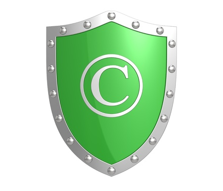 plagiarism: Copyright protection shield Stock Photo