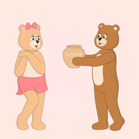 Two cute Teddy bears in love. Vector illustration Vector