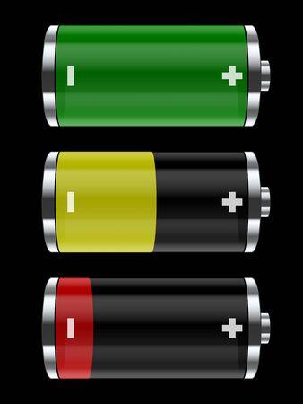 Kleurrijke batterij pictogrammen. Vector illustratie
