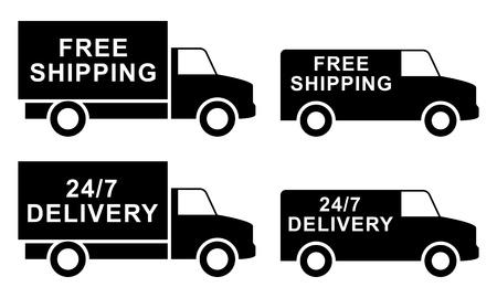autotruck: Free shipping labels illustration Illustration