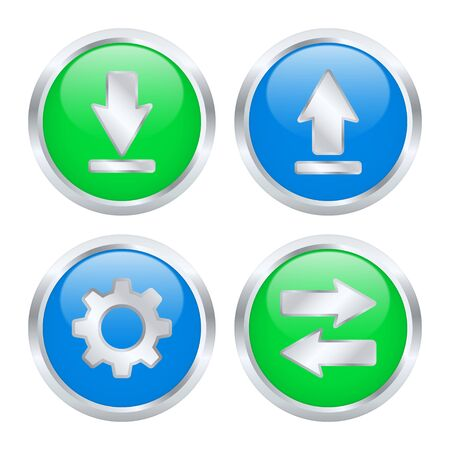 torrent: Set of download and upload buttons illustration
