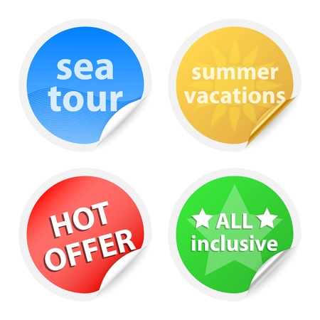 Zomer vakanties labels. Vector illustratie