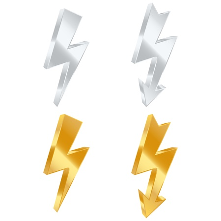 volts: Lightning bolt icons. Vector illustration Illustration
