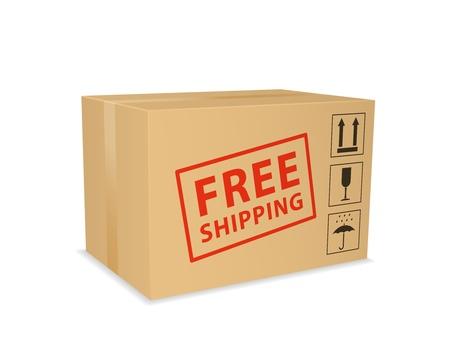 Gratis verzending doos. Vector illustratie Stock Illustratie