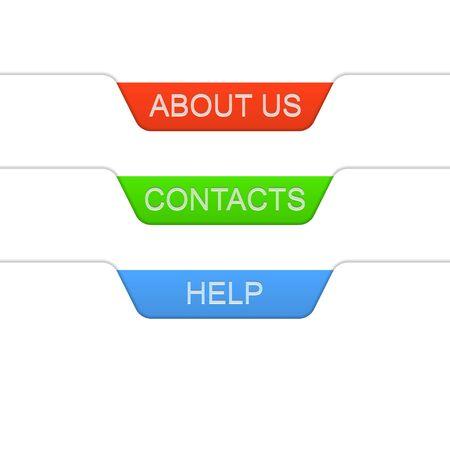 Information tab labels. Vector illustration